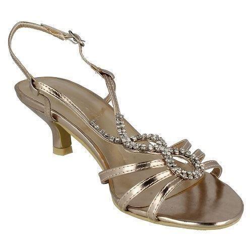 как выглядит Spot On F1579 Ladies Champagne Slingback Evening Heeled Sandals фото