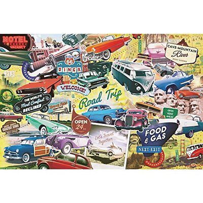 The Great American Road Trip 1,000 Piece Vintage Cars Americana Jigsaw Puzzle