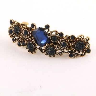 Gold Tone Flower Rhinestone Blue Color Hair Clip Barrette ha9906BL (Gold Tone Flower Clip)