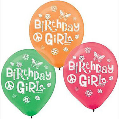 HIPPIE CHICK LATEX BALLOONS (6) ~ Birthday Party Supplies Latex Decorations Pink