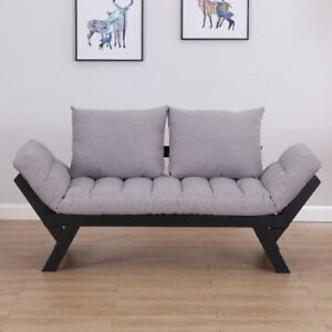 Convertible Sofa Bed Futon Loveseat Living Room with Pillow Grey