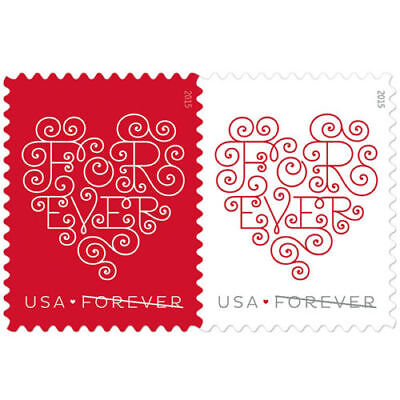 Forever Stamps Hearts Edition Sheet of 20 x 50; Total 1000 Stamps