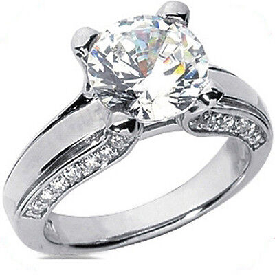 1.50 ct Round Diamond Engagement Solitaire 14k White Gold Ring GIA F VS2