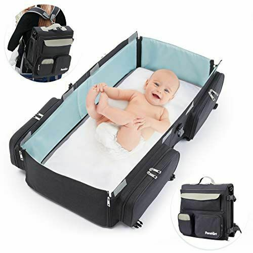 3in1 Foldable Mommy Baby Diaper Bag Travel Portable Crib Large Sleep Backpack US