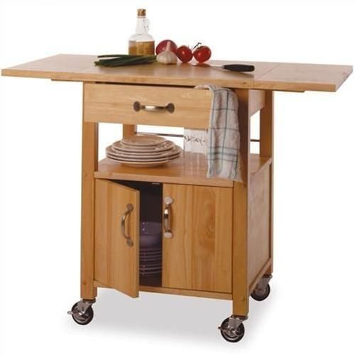 Details About Rolling Kitchen Cart On Wheels Double Drop Leaf Island Storage Drawer Small