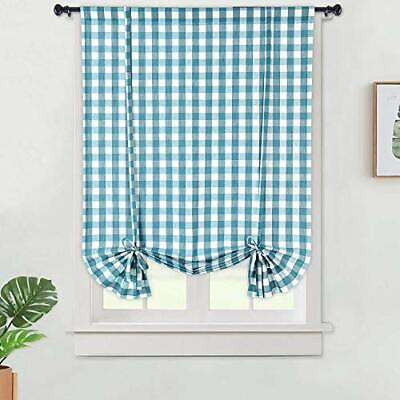Haperlare Tie Up Curtains  Buffalo Check Plaid Gingham Pattern Adjustable Tie Up