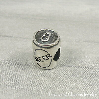 Sterling Silver Beer (925 Sterling Silver Beer Can Charm - Large Hole Bead fits European)