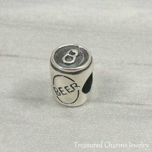 925 Sterling Silver Beer Can Charm - Large Hole Bead fits Eu