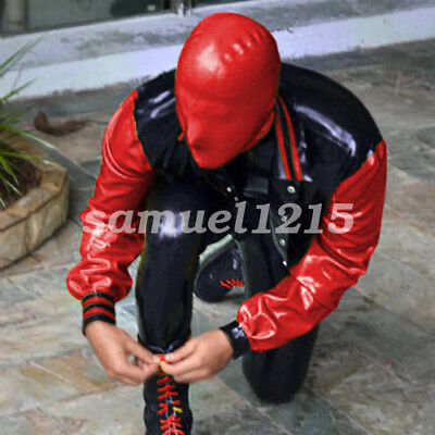 Latex Rubber Gummi Kostüm Men Handsame Hooded Jacket & Pants Suit Size Xxs-xxl 9