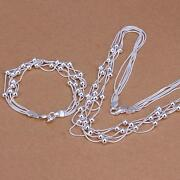 Silver Necklace Bracelet Set