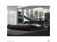 Italian Designed Modern Faux Leather Double Bed Black (Brand New)