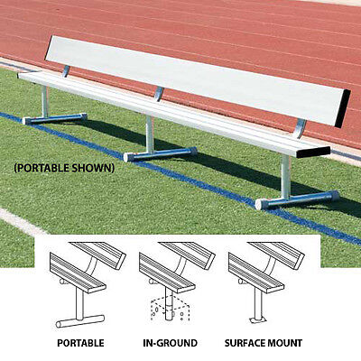 Permanent Players (27'L Permanent Player's Bench w/ Back - In Ground)