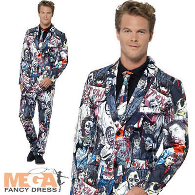Novelty Halloween Zombie Pattern Suit Adults Mens Fancy Dress Costume Accessory