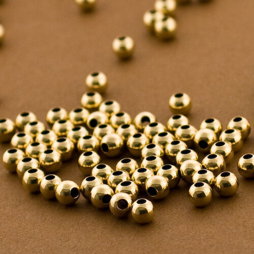 100-Gold Filled 4mm Round Smooth Polished Beads. Seamless Gold Spacer 14/20 14kt
