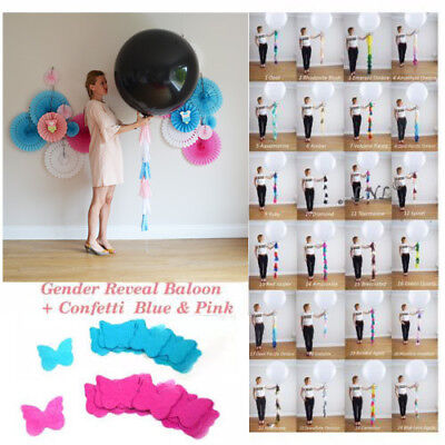 Gender Reveal Balloon XL Butterfly Confetti Pink+Blue Diy Kit Baby Sex  Party (Diy Gender Reveal)