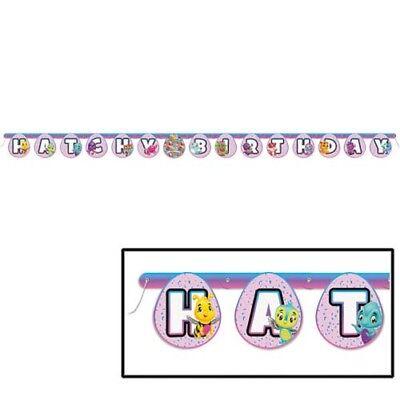 Purple Birthday Banner (HATCHIMALS HAPPY BIRTHDAY BANNER ~ Party Supplies Hanging Decoration Purple)