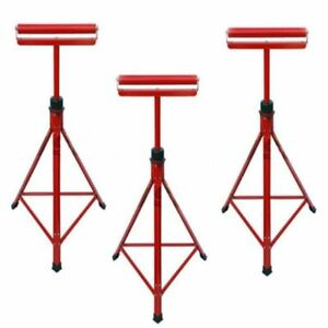 3 X METAL ROLLER STANDS REST WOODWORKING 27