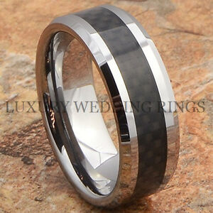 Mens-Ring-Tungsten-Wedding-Band-Black-Carbon-Fiber-Inlay-Anniversary-Size-6-13