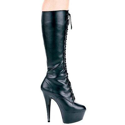 Ellie Shoes 6 Inch Stiletto Heel Lace Up Knee High Boot Pointed Toe Platform Boo