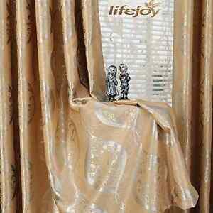 Blockout Eyelet Curtains Luxury European Style Gold Scroll 240cm x 230cm(Drop)