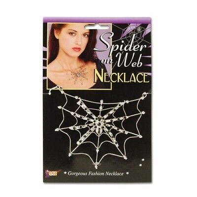 Ladies Gothic Steampunk Large Silver Spider Web Choker Necklace