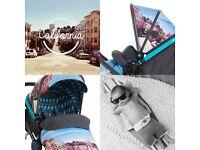 REDUCED!! Koochi Litestar Travel system / Pram (San Fran) with upstart infant car seat. AS NEW £175