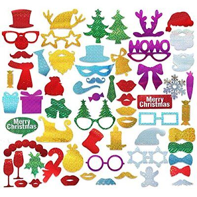 Christmas Photo Booth Props, PBPBOX 60pcs Christmas Xmas Santa Party Favors Supp