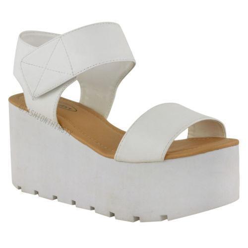 White Chunky Platform Sandals Ebay