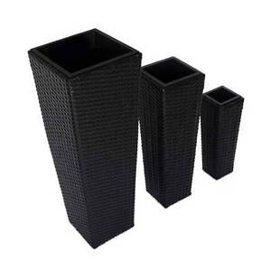 Set of 3 Rattan Wicker Planters Croydon Burwood Area Preview