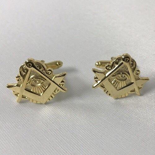 Freemason Masonic Cufflinks In Gold Tone