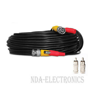 100 ft Siamese BNC RCA Video Power Cable for CCTV Security Camera System Black