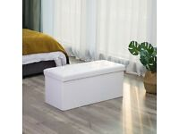 SONGMICS Folding Chest Pouffe Stool for Storage Used