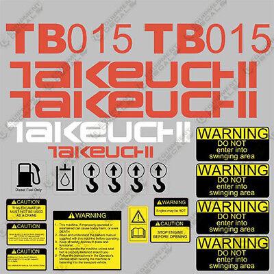 Takeuchi Tb 015 Mini Excavator Decals Equipment Decals Tb015 Tb-015 Tb15 Tb 15