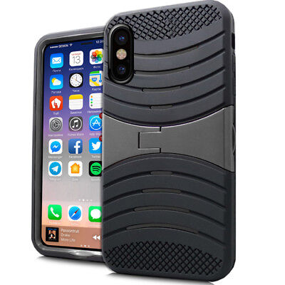 For iPhone X Black Hybrid Rubber High Impact Protector Armor Skin Case Kickstand Black Impact Skin Case