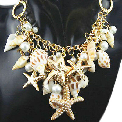 Starfish Sea Shell Necklace Faux Pearl Gold Chunky Seashell Flower - Starfish Shell