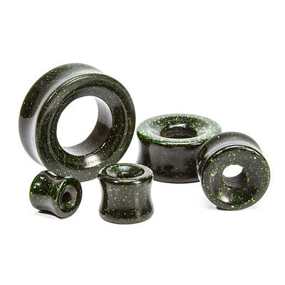Goldstone Plugs - Green Goldstone Glass Double Flare Hollow Plug - Price Per 1