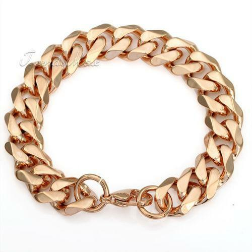 mens rose gold bracelet ebay. Black Bedroom Furniture Sets. Home Design Ideas