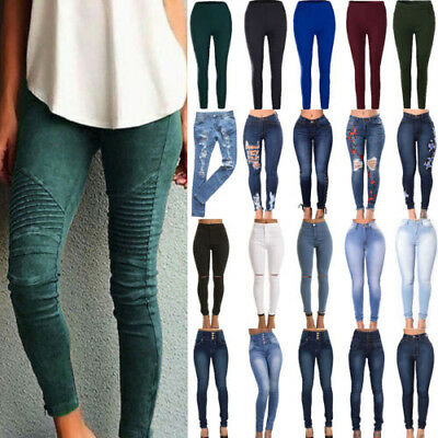 11c736bd784 Women Stretch Skinny Denim Jeans Casual High Waist Jeggings Pencil Pants  Trouser