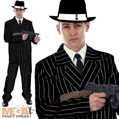 Gangster Black Pinstriped Suit Mens Fancy Dress 1920s Mafia Adult Costume Outfit (1920 Gangster Outfit)