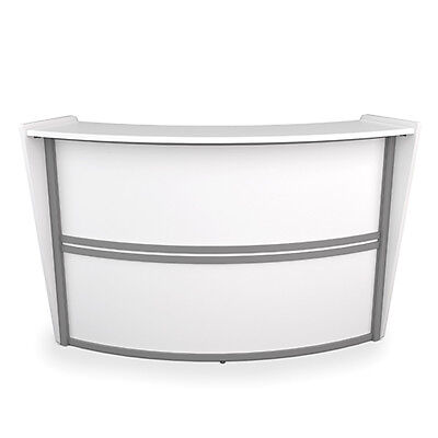 Contemporary Reception Desk In White Finish W Silver Frame - Office Front Desk