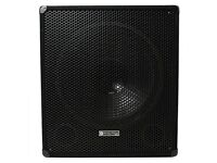 "Pair of Evolution 15"" Active Subwoofers, On Wheels, With Poles and XLR Cables, Excellent"