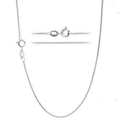 Jewellery - Italian 925 Sterling Silver TARNISH-FREE RHODIUM PLATED .8mm Box Chain Necklace