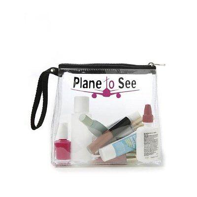 MIAMICA PINK PLANE TO SEE TSA CARRY ON TRAVEL SIZE TOILETRIES BOTTLES BAG CASE