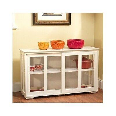 ( White China Cabinet Curio Display Shelf Pantry Kitchen Organizer Glass Storage )