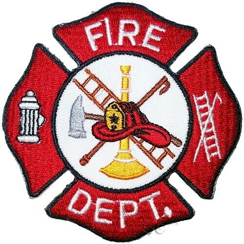 """Firefighter Fire Rescue Patch Maltese Cross FIRE DEPT 3"""" Red White"""