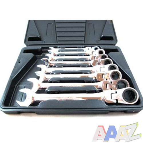 PRO 8pc Flexible Combination Spanners Ratchet Wrench Tool Set 8-19mm