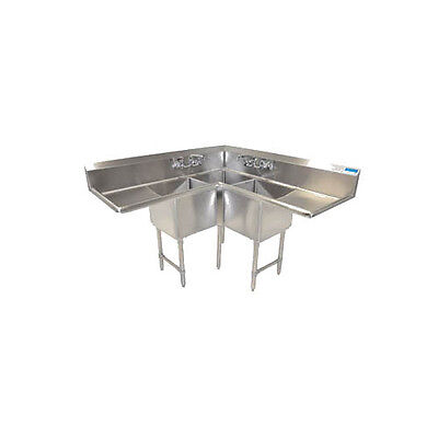 Bk Resources Bkcs-3-18-14-18t 57w X 23-12d Three Compartment Corner Sink