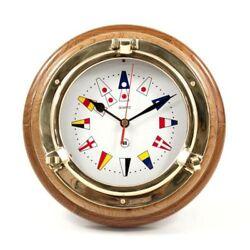 Brass Porthole Quartz Clock With Nautical Flags Dial Face