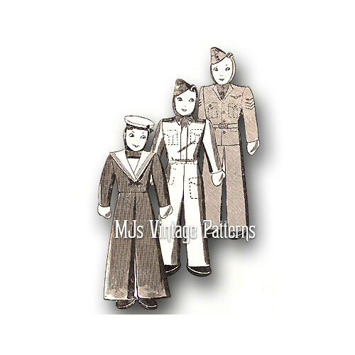 Vintage 1940s English Pattern ~ Soldier, Sailor, Airman Cloth Dolls