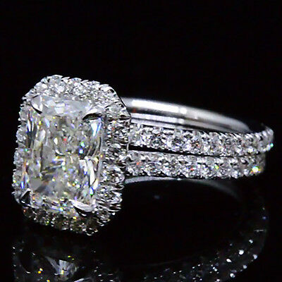 2.70 Ct. Natural Radiant Cut Halo Pave Diamond Engagement Wedding Ring Set GIA